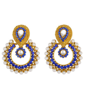 multicolor stones and pearls drop earrings