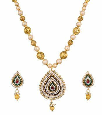 golden cubiz zirconia studded necklace set
