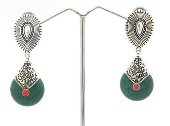 Green Color Antique Style Earring