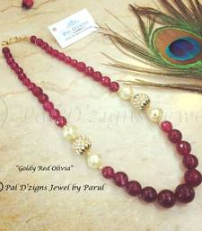 Buy Goldy Red Olivia - Neckline Necklace online