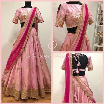 1aedb5a96b40 Pink Taffeta silk embroidered semi stitched Lehenga choli - Gopinath ...