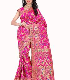 Buy Pink printed banarasi art silk saree with blouse art-silk-saree online