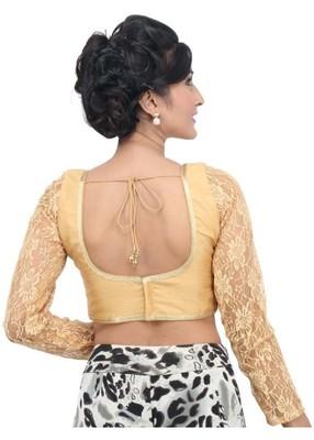 4a6e81afa77d80 Gold Plain Dupion Silk readymade-blouse - muhenera s - 1669256
