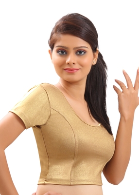 Gold Plain Lycra Readymade-Blouse
