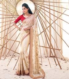 Buy Vishal Cream Georgette Designer Sarees Holiday33225 bollywood-saree online