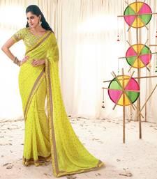 Buy Vishal Yellow Georgette Designer Sarees Holiday33227 bollywood-saree online