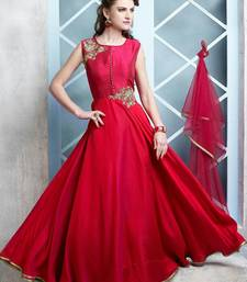Buy red embroidered banglori silk semi stitched salwar with dupatta semi-stitched-salwar-suit online
