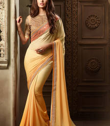 Buy Yellow embroidered georgette saree with blouse ombre-saree online