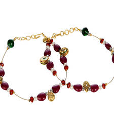 Maroon Golden Unique Ethnic Brass Payal Anklet
