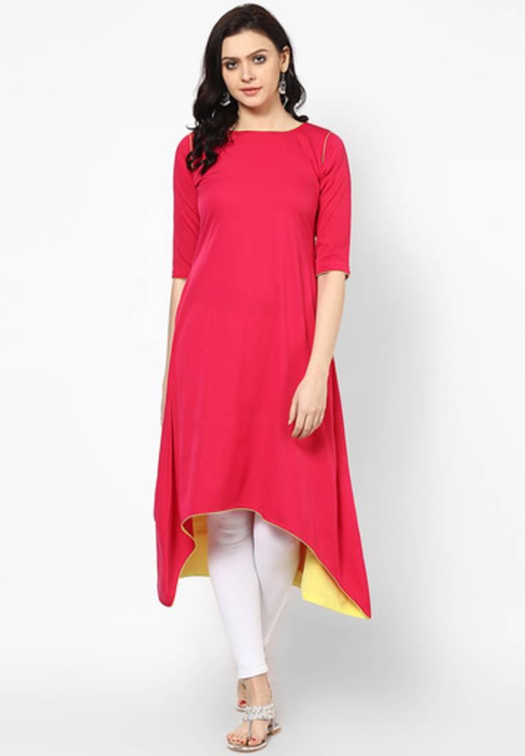 Buy Red Plain Cotton Long Kurtis Online
