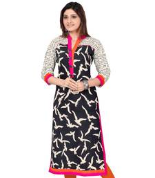 Buy Black printed cotton long-kurtis long-kurti online