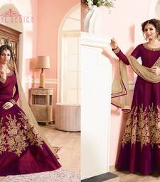 Buy Maroon embroidered bhagalpuri cotton semi stitched salwar with dupatta semi-stitched-salwar-suit online