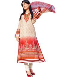 Buy AARYA Pure Lawn Cotton Cream and Brick Red Color Designer Dress Material Diwali gifts offers dress-material online