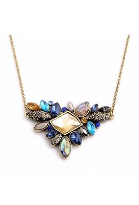 Multicolor Fusion Style Heavy Crystal Pendant Necklace