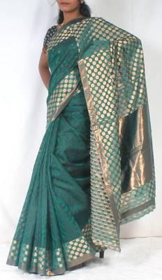 Designer supernet chanderi fancy Shoulder pallu saree
