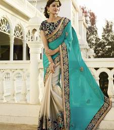 Buy sky blue embroidered chiffon saree With Blouse wedding-saree online