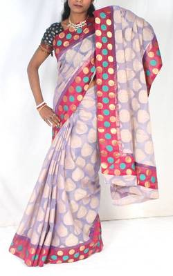 Designer supernet chanderi fancy saree