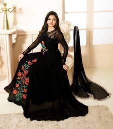 Buy Black embroidered georgette semi stitched salwar with dupatta anarkali-salwar-kameez online