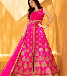 Buy Pink embroidered semi stitched salwar with dupatta anarkali-salwar-kameez online
