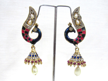 Nice Pink And Blue Peacock jhumka earring