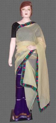 Nylon net fabric chadar with self print and Manipuri design mekhela