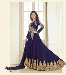 Buy Blue embroidered georgette semi stitched salwar with dupatta semi-stitched-salwar-suit online