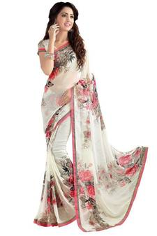 2c86c3f995a White printed georgette saree with blouse