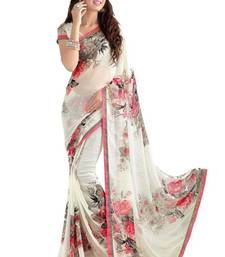 Buy White printed georgette saree with blouse ganpati-saree online