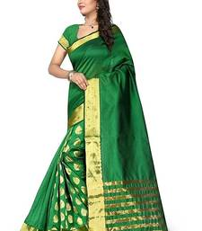 Buy Green embroidered bhagalpuri cotton saree with blouse ethnic-saree online