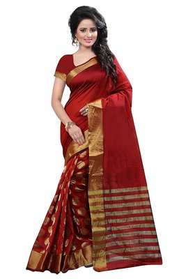 Red embroidered bhagalpuri cotton saree with blouse