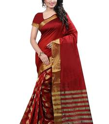 Buy Red embroidered bhagalpuri cotton saree with blouse indian-dress online