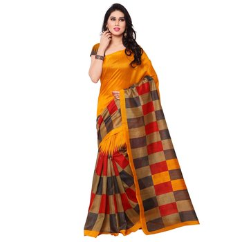 3760350f03 Orange printed georgette saree with blouse - Awesome - 1675086