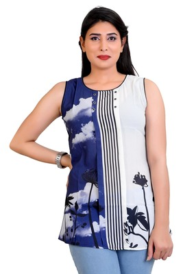 Blue Georgette printed tops