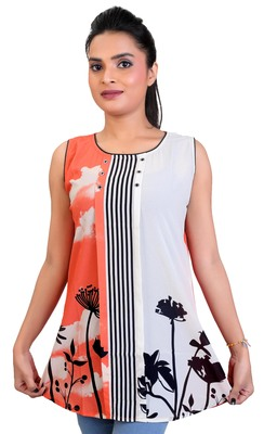 Salmon Georgette printed tops