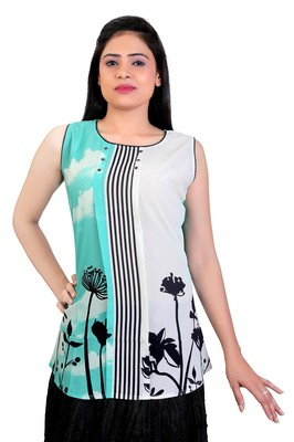 Turquoise Georgette printed tops
