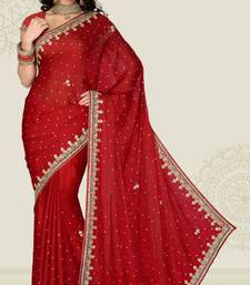 Buy Weeding Maroon Color Satin Chiffon Party Wear Saree with Blouse chiffon-saree online