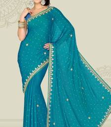 Buy Weeding Teal Blue Color Satin Chiffon Party Wear Saree with Blouse chiffon-saree online