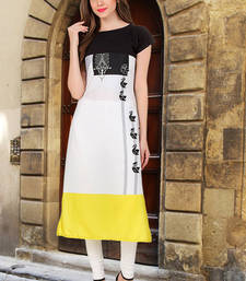 Buy Women White Crepe Digital Printed Casual Kurti long-kurti online