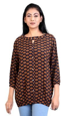 Brown rayon fabric  printed top