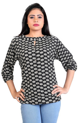 Black rayon fabric  printed top