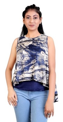 Navyblue stretchable lycra fabric printed  top