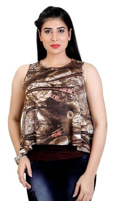 Brown stretchable lycra fabric printed  top
