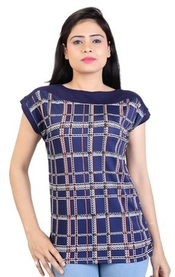 Blue stretchable lycra fabric printed top