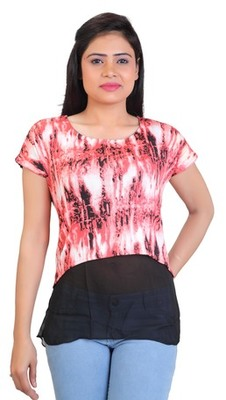 Red stretchable lycra fabric printed  top