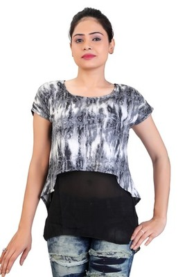 Grey stretchable lycra fabric printed  top