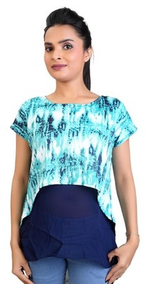 Turquoise stretchable lycra fabric printed  top