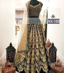 Buy Black embroidered net unstitched lehenga lehenga-choli online