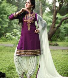 Buy Purple embroidered cotton unstitched salwar with dupatta patiala-salwar online
