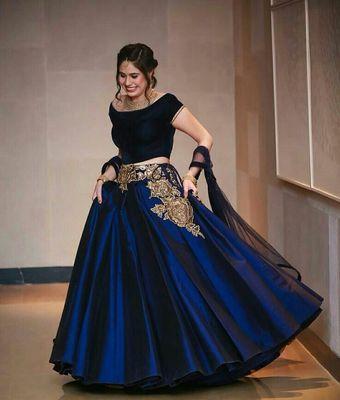5c3962a6aac Navy Blue Taffeta silk Embroidered semistitched lehenga choli - Gopinath  Creation - 1155677