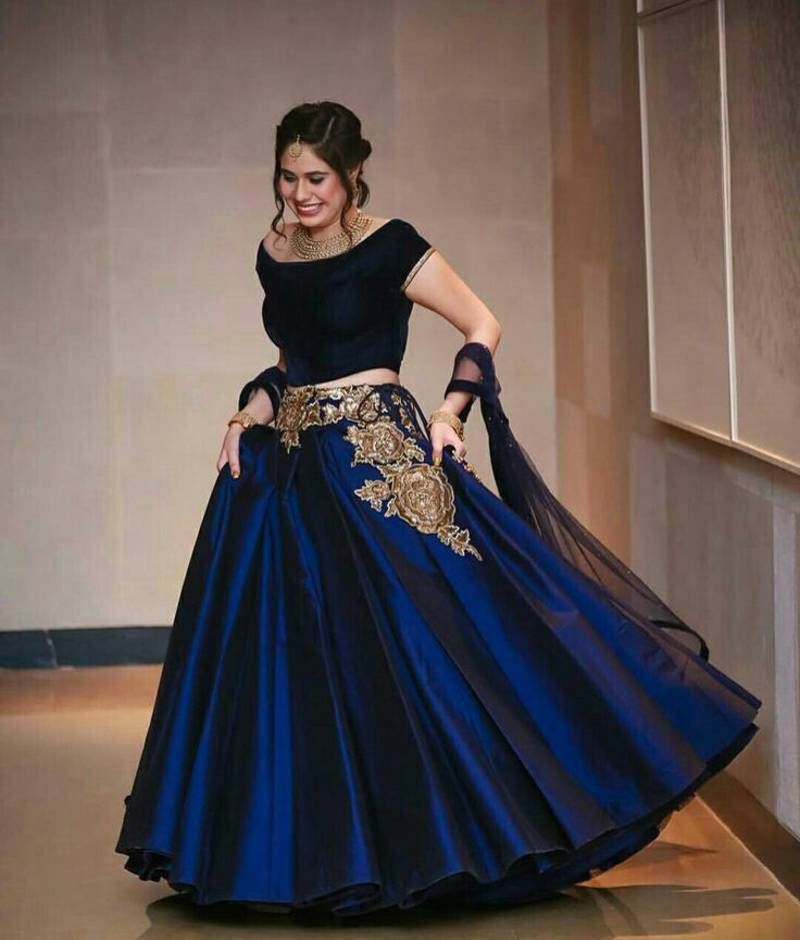 Navy blue taffeta silk embroidered semistitched lehenga choli